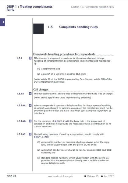 UK SFC Customer Complaint Handling