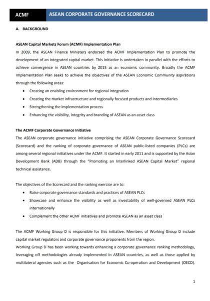 ACMF- ASEAN Corporate Governance Scorecard